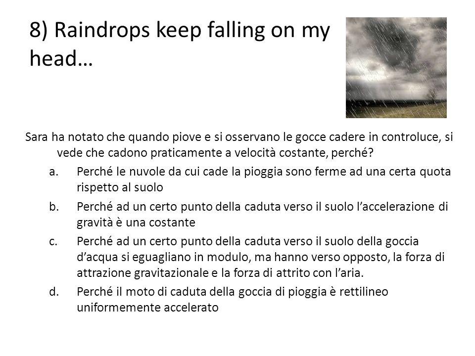 8) Raindrops keep falling on my head… Sara ha notato che quando piove e si osservano le gocce cadere in controluce, si vede che cadono praticamente a
