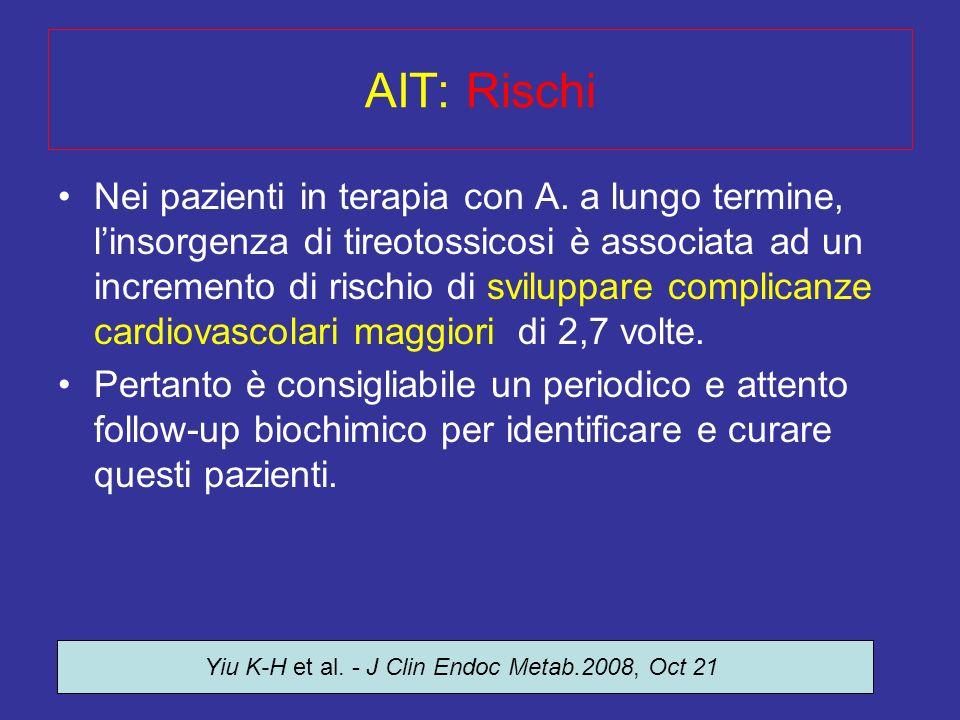 Dr. S. Pignata - Clinica Tricarico AIT: Rischi Nei pazienti in terapia con A. a lungo termine, linsorgenza di tireotossicosi è associata ad un increme