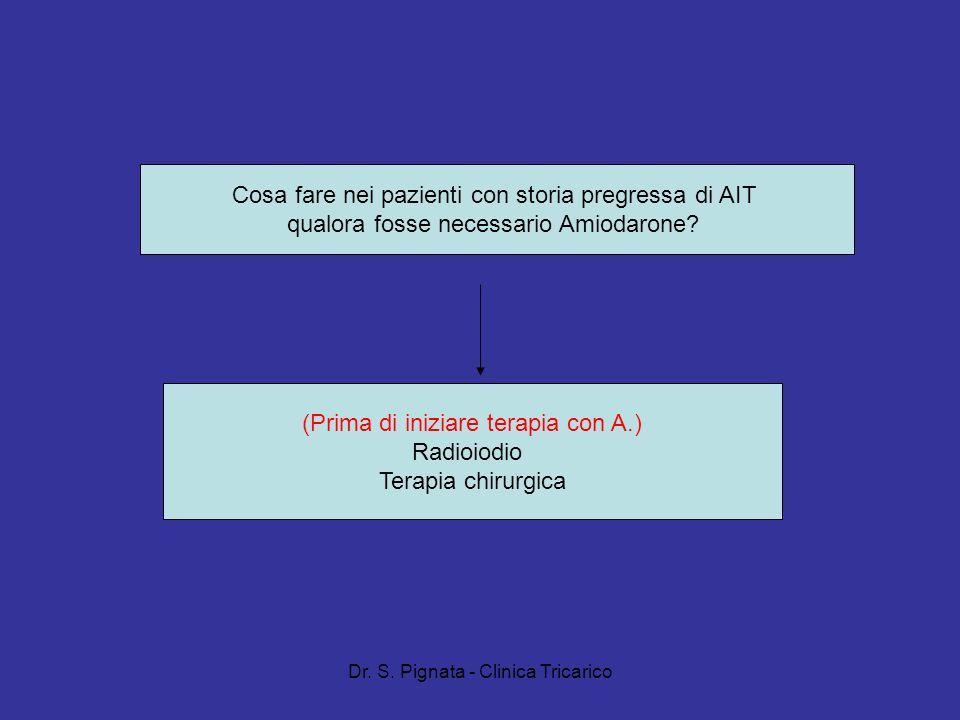 Dr. S. Pignata - Clinica Tricarico (Prima di iniziare terapia con A.) Radioiodio Terapia chirurgica Cosa fare nei pazienti con storia pregressa di AIT
