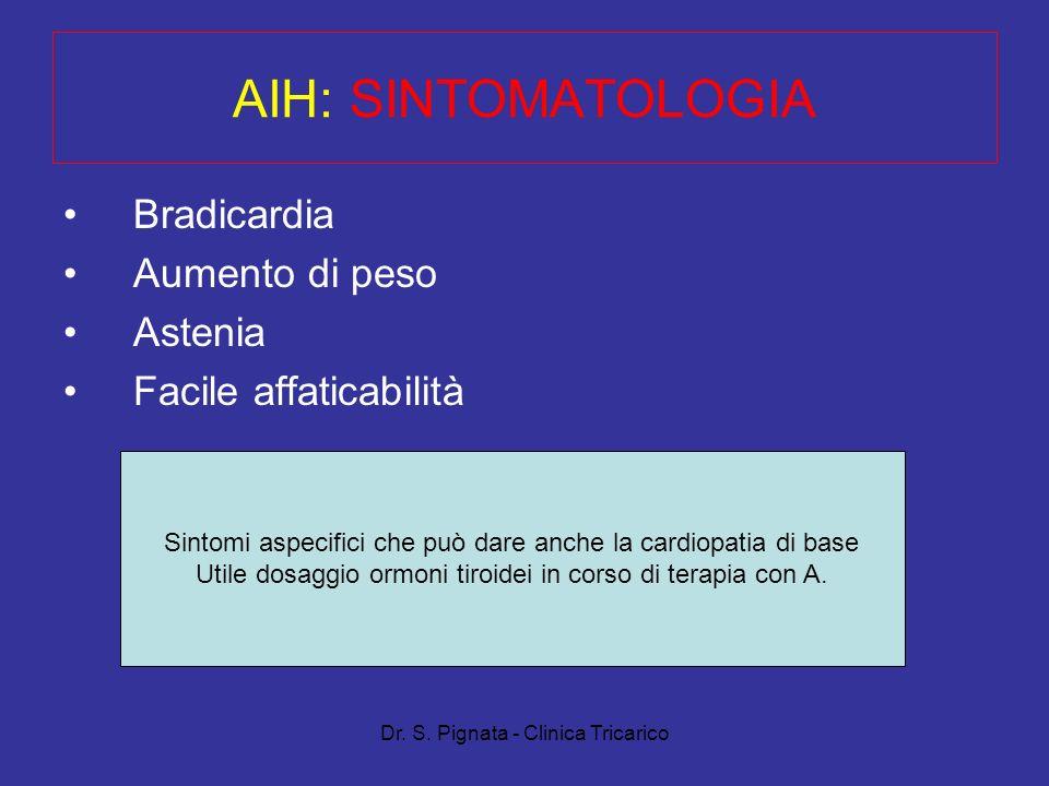 Dr. S. Pignata - Clinica Tricarico Bradicardia Aumento di peso Astenia Facile affaticabilità AIH: SINTOMATOLOGIA Sintomi aspecifici che può dare anche