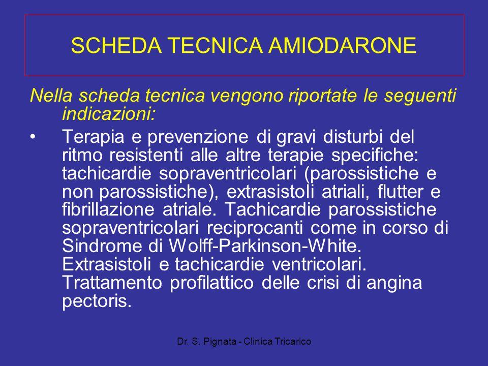 Dr. S. Pignata - Clinica Tricarico SCHEDA TECNICA AMIODARONE Nella scheda tecnica vengono riportate le seguenti indicazioni: Terapia e prevenzione di