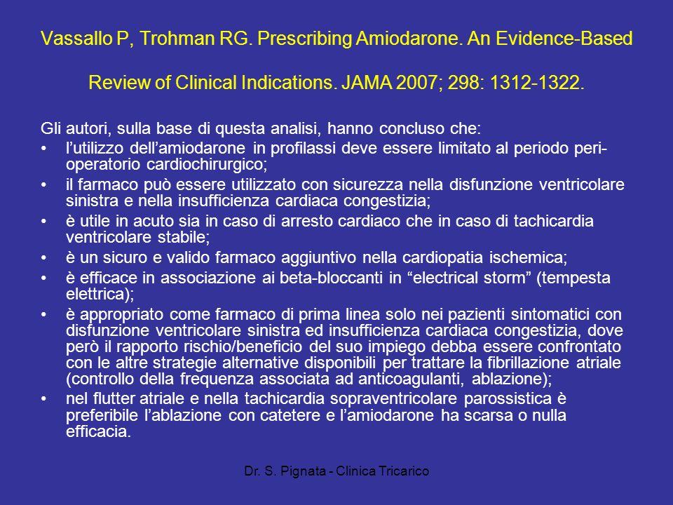 Dr. S. Pignata - Clinica Tricarico Vassallo P, Trohman RG. Prescribing Amiodarone. An Evidence-Based Review of Clinical Indications. JAMA 2007; 298: 1