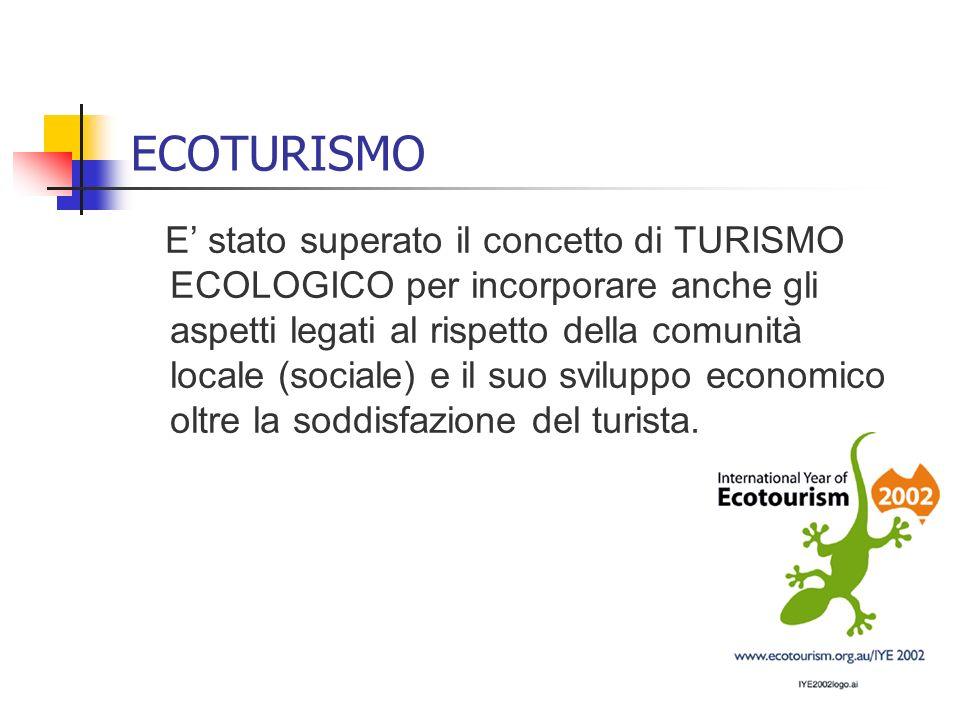 ECOTURISMO E stato superato il concetto di TURISMO ECOLOGICO per incorporare anche gli aspetti legati al rispetto della comunità locale (sociale) e il