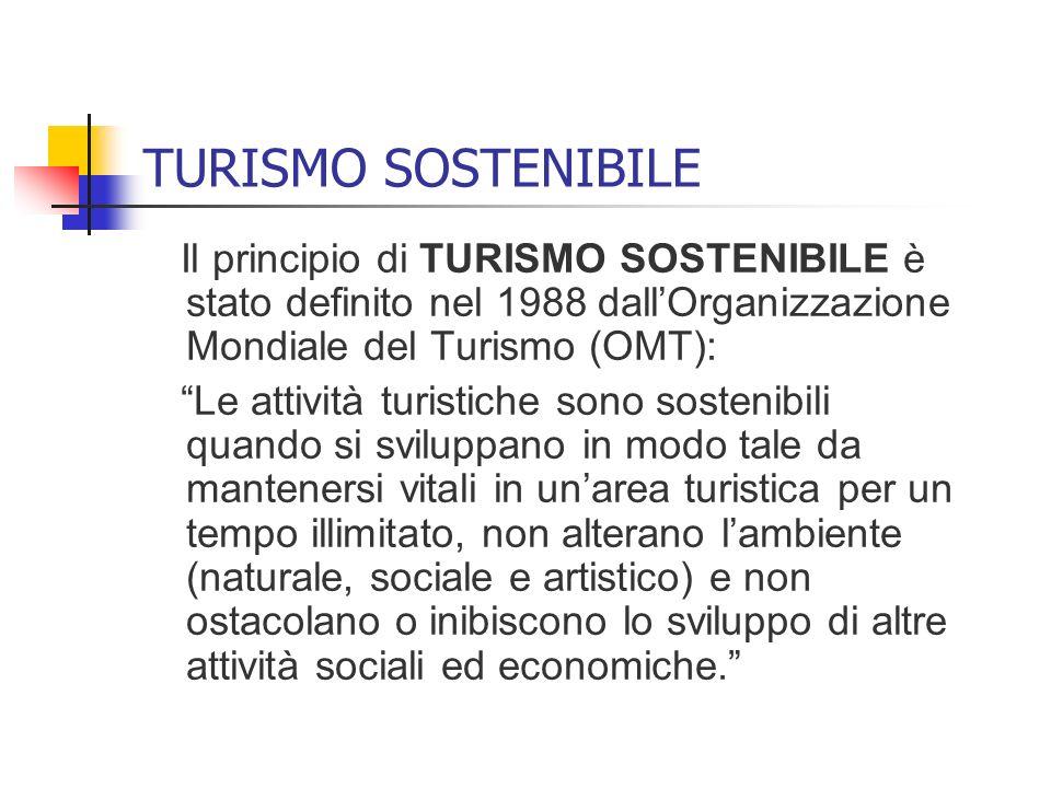 TURISMO SOSTENIBILE Il principio di TURISMO SOSTENIBILE è stato definito nel 1988 dallOrganizzazione Mondiale del Turismo (OMT): Le attività turistich