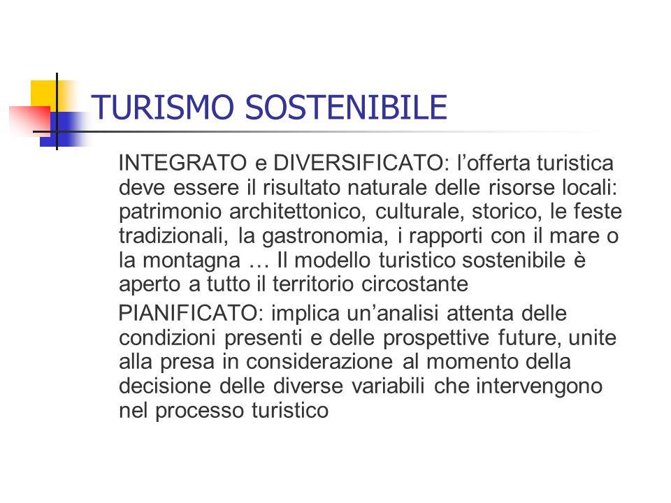 TURISMO SOSTENIBILE INTEGRATO e DIVERSIFICATO: lofferta turistica deve essere il risultato naturale delle risorse locali: patrimonio architettonico, c