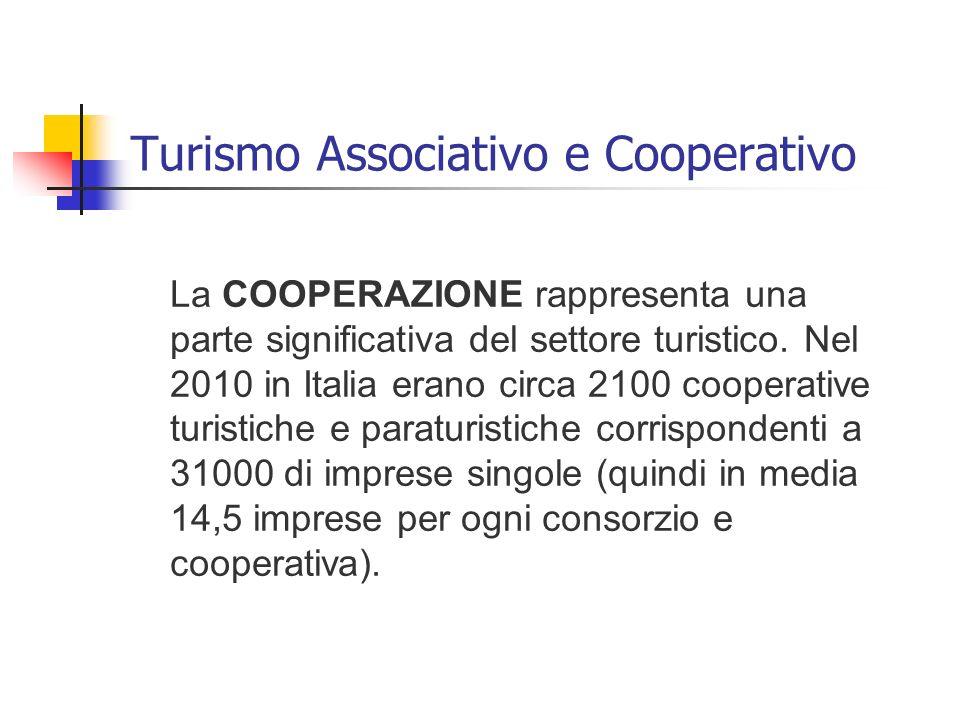 Turismo Associativo e Cooperativo La COOPERAZIONE rappresenta una parte significativa del settore turistico. Nel 2010 in Italia erano circa 2100 coope