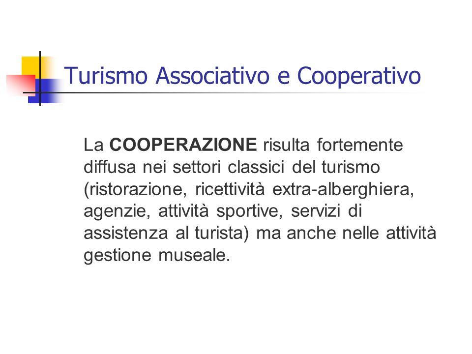 Turismo Associativo e Cooperativo La COOPERAZIONE risulta fortemente diffusa nei settori classici del turismo (ristorazione, ricettività extra-albergh