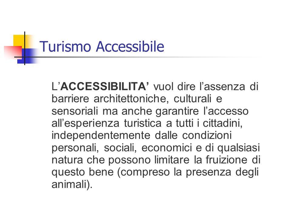 LACCESSIBILITA vuol dire lassenza di barriere architettoniche, culturali e sensoriali ma anche garantire laccesso allesperienza turistica a tutti i ci