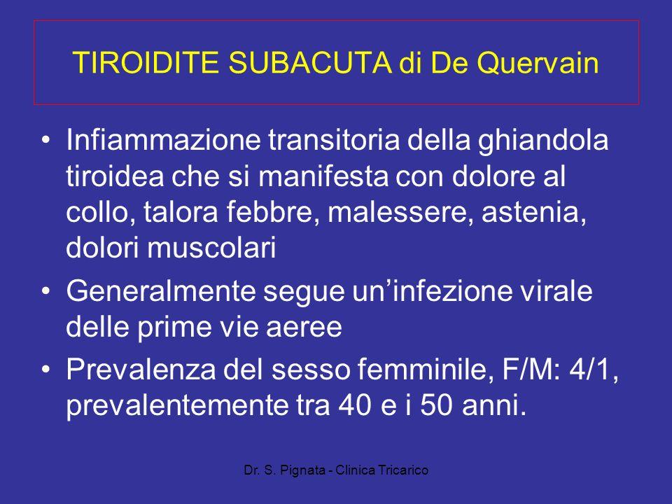Dr. S. Pignata - Clinica Tricarico TIROIDITE SUBACUTA di De Quervain Infiammazione transitoria della ghiandola tiroidea che si manifesta con dolore al