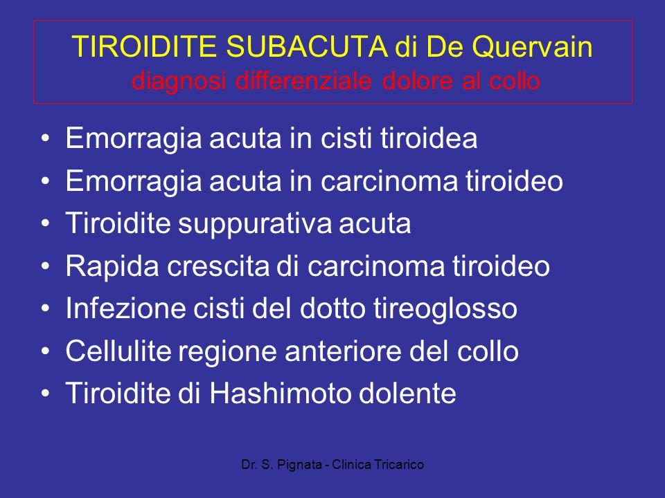 Dr. S. Pignata - Clinica Tricarico TIROIDITE SUBACUTA di De Quervain diagnosi differenziale dolore al collo Emorragia acuta in cisti tiroidea Emorragi