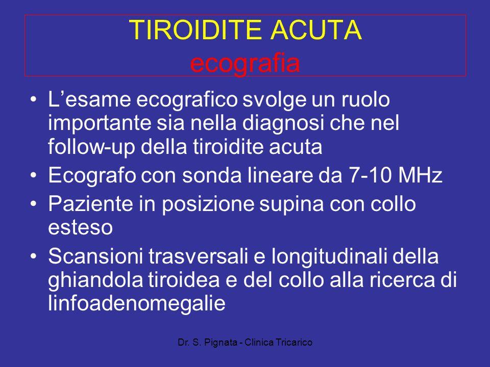 Dr. S. Pignata - Clinica Tricarico TIROIDITE ACUTA ecografia Lesame ecografico svolge un ruolo importante sia nella diagnosi che nel follow-up della t