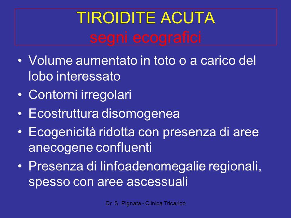 Dr. S. Pignata - Clinica Tricarico TIROIDITE ACUTA segni ecografici Volume aumentato in toto o a carico del lobo interessato Contorni irregolari Ecost