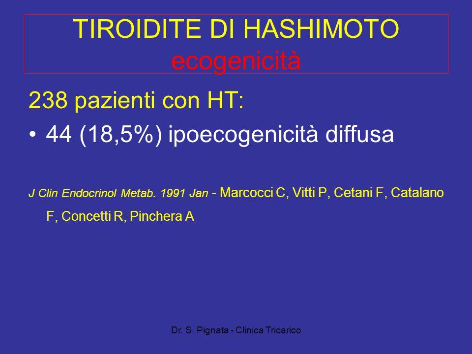 Dr. S. Pignata - Clinica Tricarico TIROIDITE DI HASHIMOTO ecogenicità 238 pazienti con HT: 44 (18,5%) ipoecogenicità diffusa J Clin Endocrinol Metab.