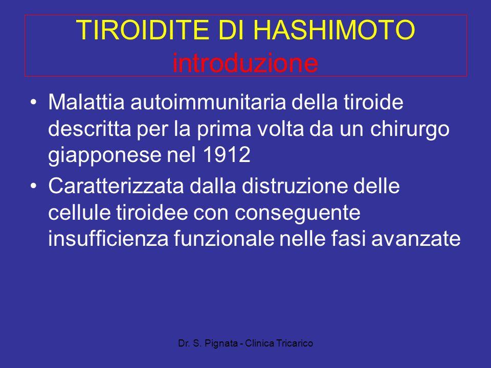 Dr. S. Pignata - Clinica Tricarico TIROIDITE DI HASHIMOTO introduzione Malattia autoimmunitaria della tiroide descritta per la prima volta da un chiru