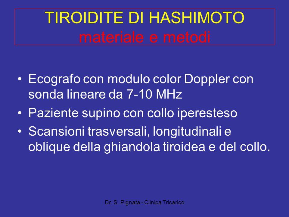 Dr. S. Pignata - Clinica Tricarico TIROIDITE DI HASHIMOTO materiale e metodi Ecografo con modulo color Doppler con sonda lineare da 7-10 MHz Paziente
