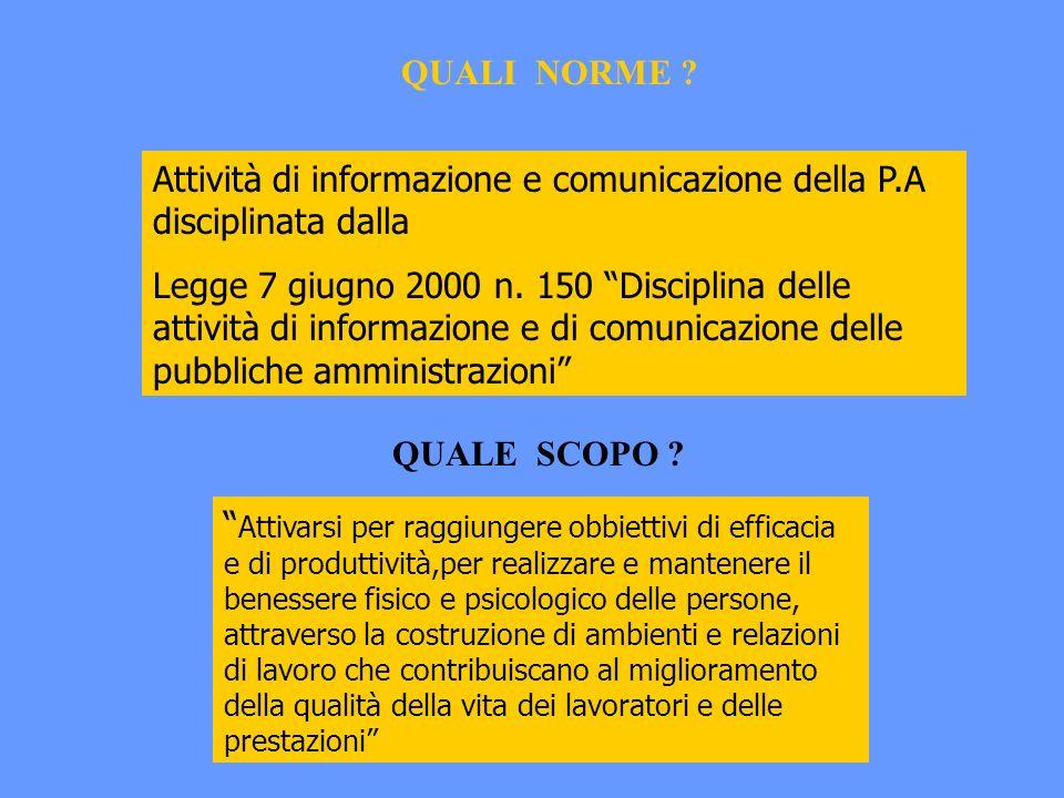 Attività di informazione e comunicazione della P.A disciplinata dalla Legge 7 giugno 2000 n.