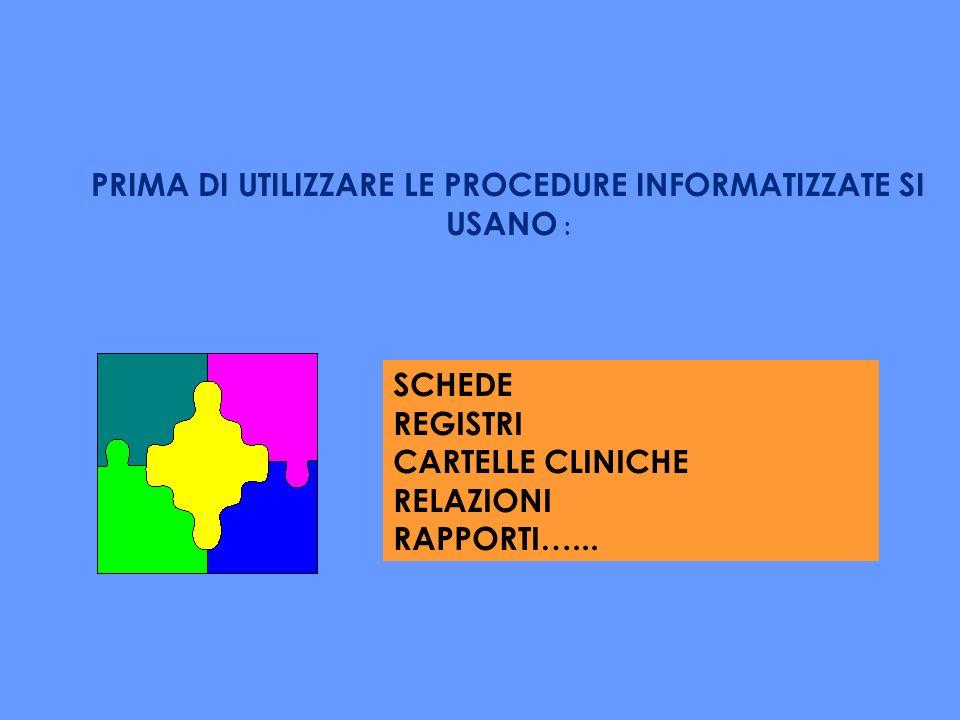 SCHEDE REGISTRI CARTELLE CLINICHE RELAZIONI RAPPORTI…...