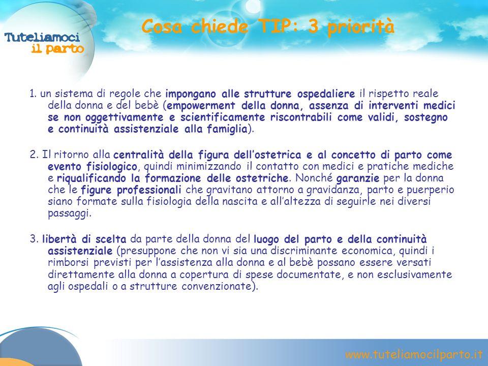 www.tuteliamocilparto.it Cosa chiede TIP: 3 priorità 1. un sistema di regole che impongano alle strutture ospedaliere il rispetto reale della donna e