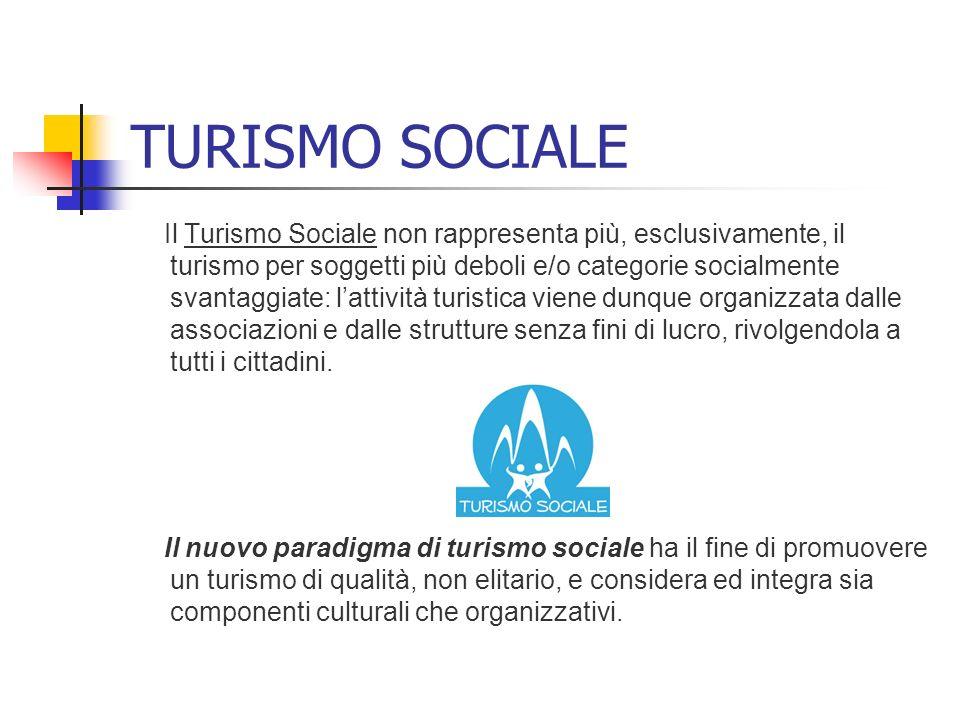 TURISMO SOCIALE Il Turismo Sociale non rappresenta più, esclusivamente, il turismo per soggetti più deboli e/o categorie socialmente svantaggiate: lat