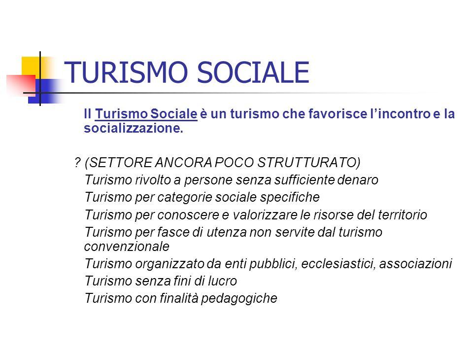 TURISMO SOCIALE Il Turismo Sociale è un turismo che favorisce lincontro e la socializzazione. ? (SETTORE ANCORA POCO STRUTTURATO) Turismo rivolto a pe