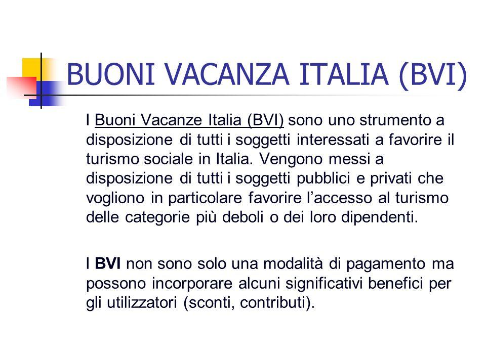 BUONI VACANZA ITALIA (BVI) I Buoni Vacanze Italia (BVI) sono uno strumento a disposizione di tutti i soggetti interessati a favorire il turismo social