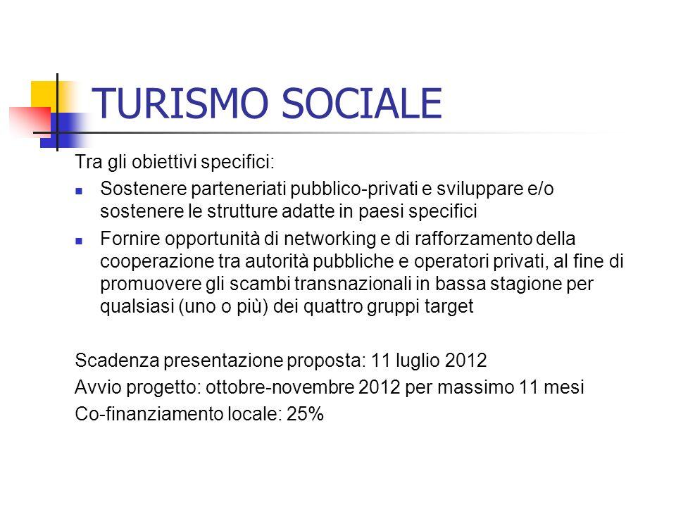 TURISMO SOCIALE Tra gli obiettivi specifici: Sostenere parteneriati pubblico-privati e sviluppare e/o sostenere le strutture adatte in paesi specifici