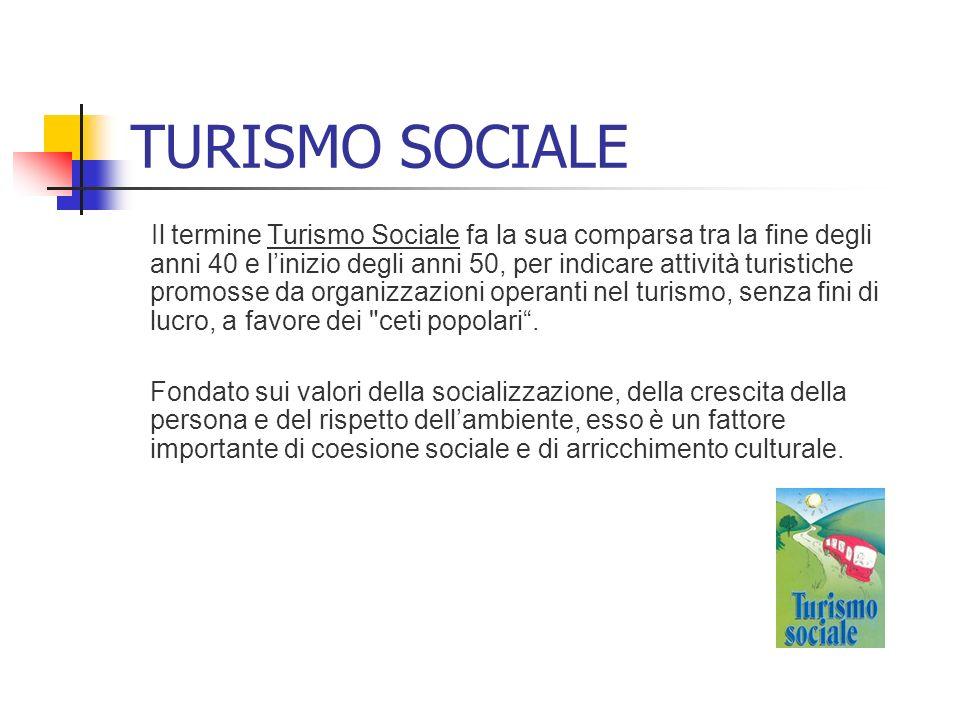 TURISMO SOCIALE Il termine Turismo Sociale fa la sua comparsa tra la fine degli anni 40 e linizio degli anni 50, per indicare attività turistiche prom