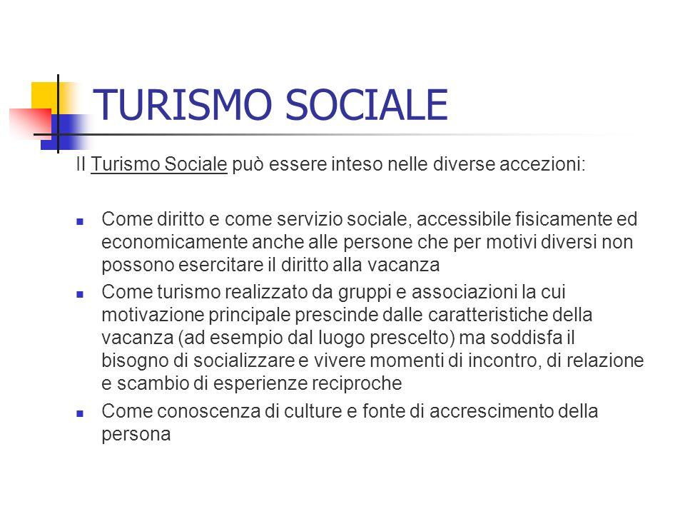 TURISMO SOCIALE Il Turismo Sociale può essere inteso nelle diverse accezioni: Come diritto e come servizio sociale, accessibile fisicamente ed economi