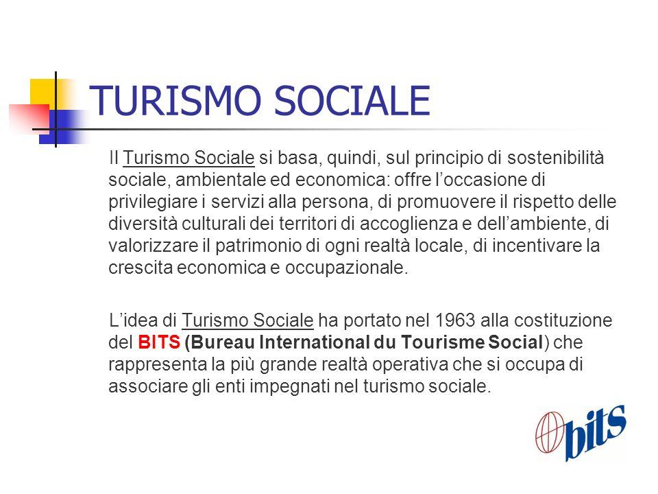 TURISMO SOCIALE Il Turismo Sociale si basa, quindi, sul principio di sostenibilità sociale, ambientale ed economica: offre loccasione di privilegiare