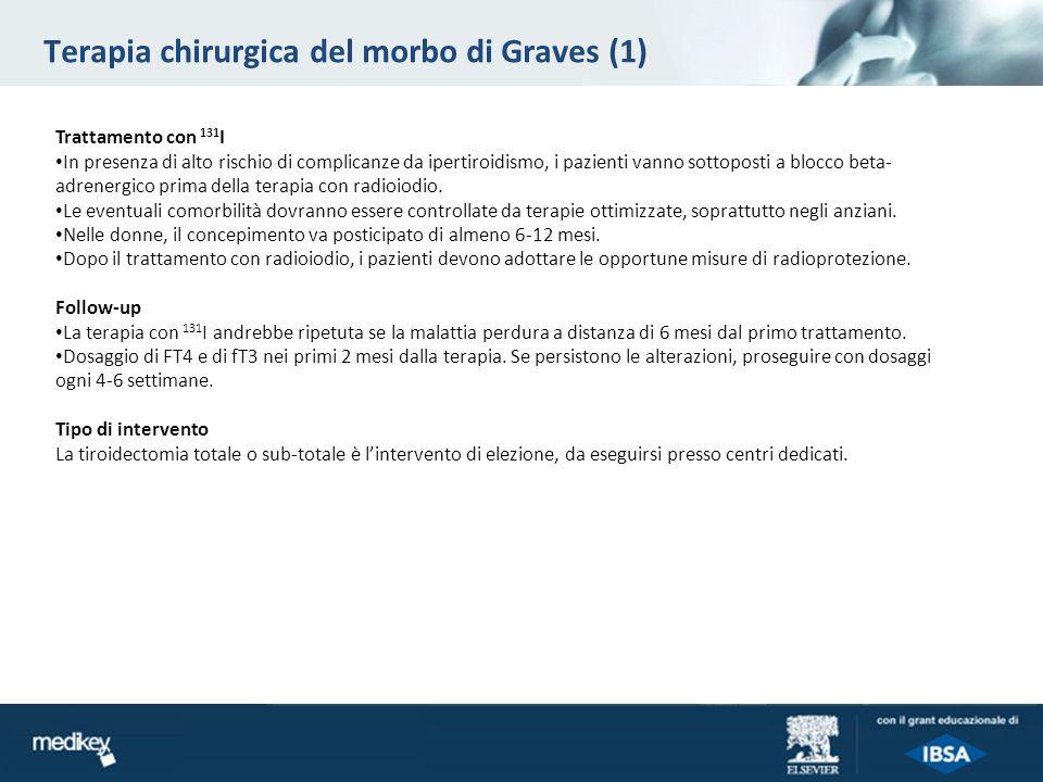 Terapia chirurgica del morbo di Graves (1) Trattamento con 131 I In presenza di alto rischio di complicanze da ipertiroidismo, i pazienti vanno sottop