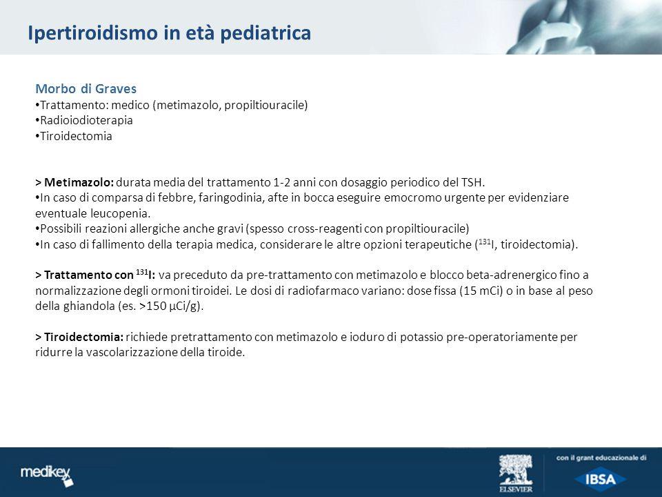 Ipertiroidismo in età pediatrica Morbo di Graves Trattamento: medico (metimazolo, propiltiouracile) Radioiodioterapia Tiroidectomia > Metimazolo: dura