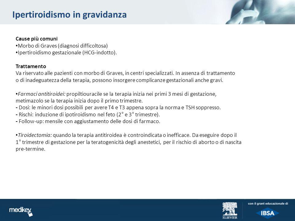 Ipertiroidismo in gravidanza Cause più comuni Morbo di Graves (diagnosi difficoltosa) Ipertiroidismo gestazionale (HCG-indotto). Trattamento Va riserv