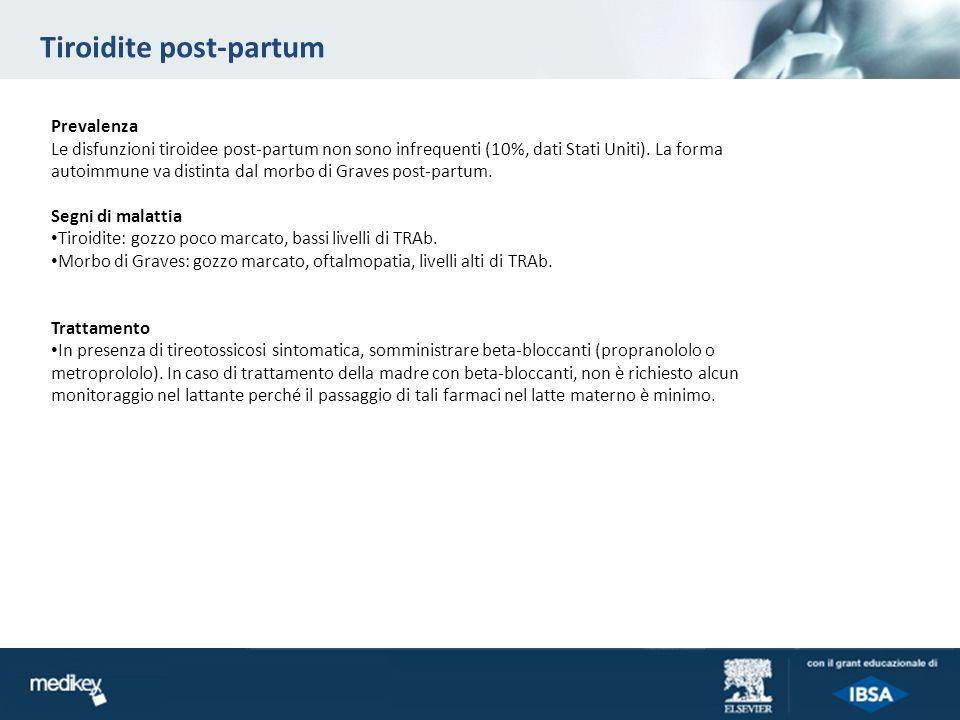 Tiroidite post-partum Prevalenza Le disfunzioni tiroidee post-partum non sono infrequenti (10%, dati Stati Uniti). La forma autoimmune va distinta dal