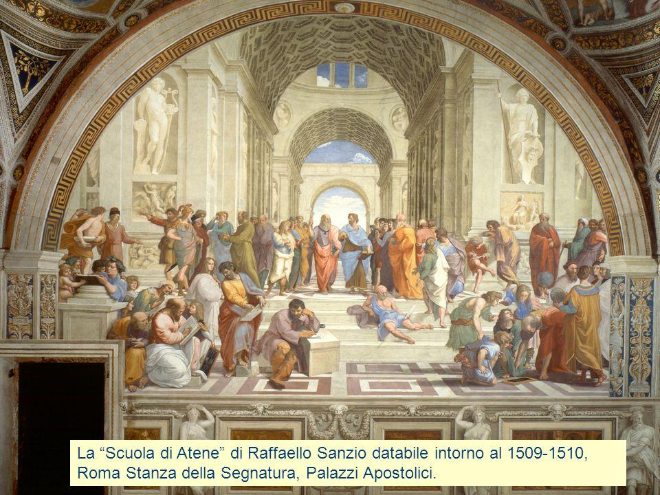 Platone e Aristotele Al centro della composizione, vicino al punto di fuga, si trovano i due principali filosofi del passato, Platone e Aristotele.