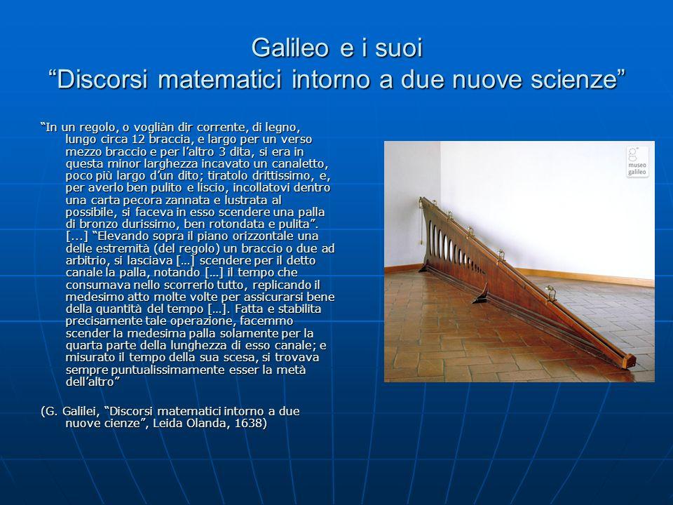 Galileo e i suoi Discorsi matematici intorno a due nuove scienze In un regolo, o vogliàn dir corrente, di legno, lungo circa 12 braccia, e largo per un verso mezzo braccio e per laltro 3 dita, si era in questa minor larghezza incavato un canaletto, poco più largo dun dito; tiratolo drittissimo, e, per averlo ben pulito e liscio, incollatovi dentro una carta pecora zannata e lustrata al possibile, si faceva in esso scendere una palla di bronzo durissimo, ben rotondata e pulita.
