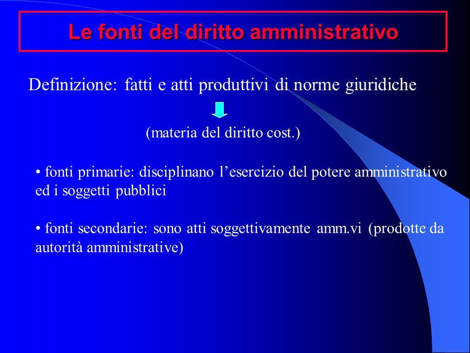Le fonti del diritto amministrativo Definizione: fatti e atti produttivi di norme giuridiche (materia del diritto cost.) fonti primarie: disciplinano