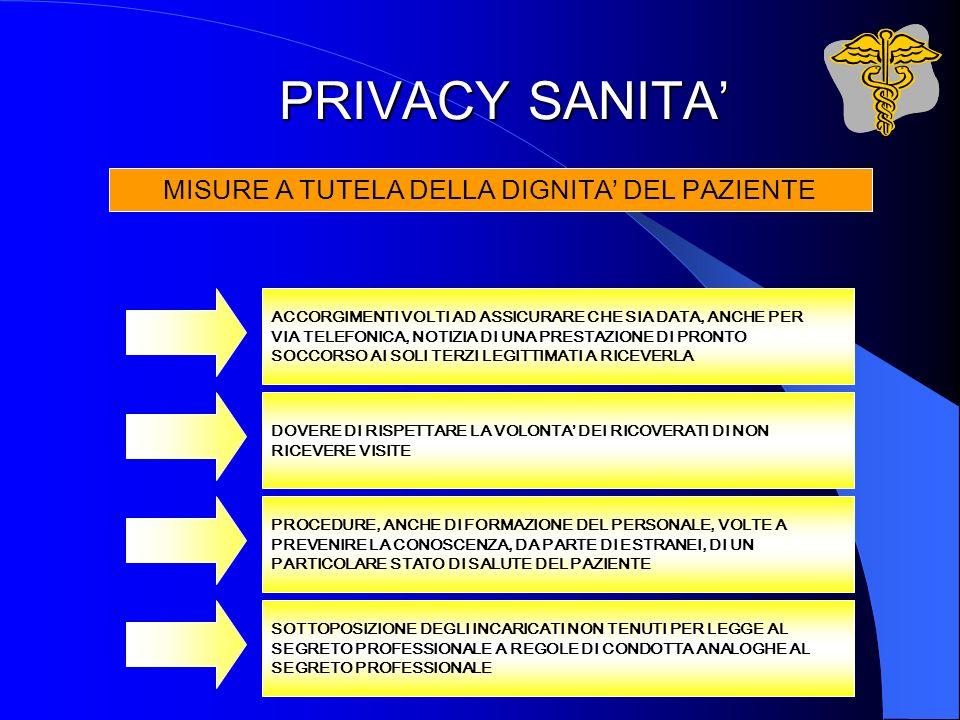PRIVACY SANITA ACCORGIMENTI VOLTI AD ASSICURARE CHE SIA DATA, ANCHE PER VIA TELEFONICA, NOTIZIA DI UNA PRESTAZIONE DI PRONTO SOCCORSO AI SOLI TERZI LE