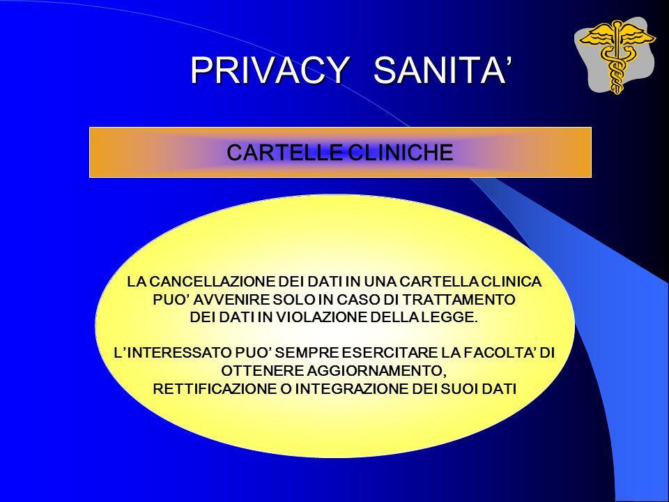 PRIVACY SANITA CARTELLE CLINICHE LA CANCELLAZIONE DEI DATI IN UNA CARTELLA CLINICA PUO AVVENIRE SOLO IN CASO DI TRATTAMENTO DEI DATI IN VIOLAZIONE DEL