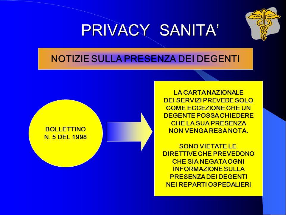 PRIVACY SANITA NOTIZIE SULLA PRESENZA DEI DEGENTI BOLLETTINO N. 5 DEL 1998 LA CARTA NAZIONALE DEI SERVIZI PREVEDE SOLO COME ECCEZIONE CHE UN DEGENTE P
