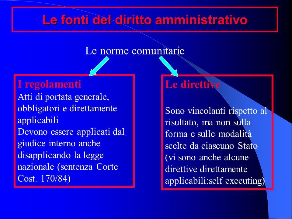 Le fonti del diritto amministrativo Le norme comunitarie I regolamenti Atti di portata generale, obbligatori e direttamente applicabili Devono essere
