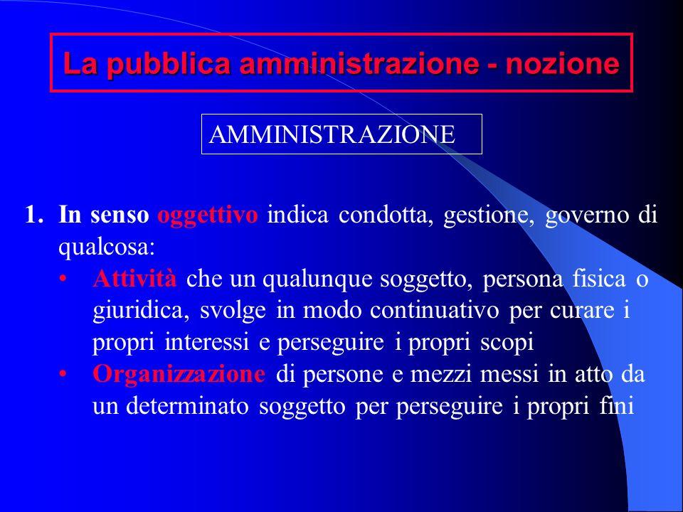 La pubblica amministrazione - nozione AMMINISTRAZIONE 1.In senso oggettivo indica condotta, gestione, governo di qualcosa: Attività che un qualunque s