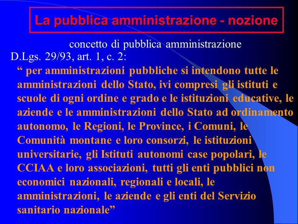 La pubblica amministrazione - nozione concetto di pubblica amministrazione D.Lgs. 29/93, art. 1, c. 2: per amministrazioni pubbliche si intendono tutt