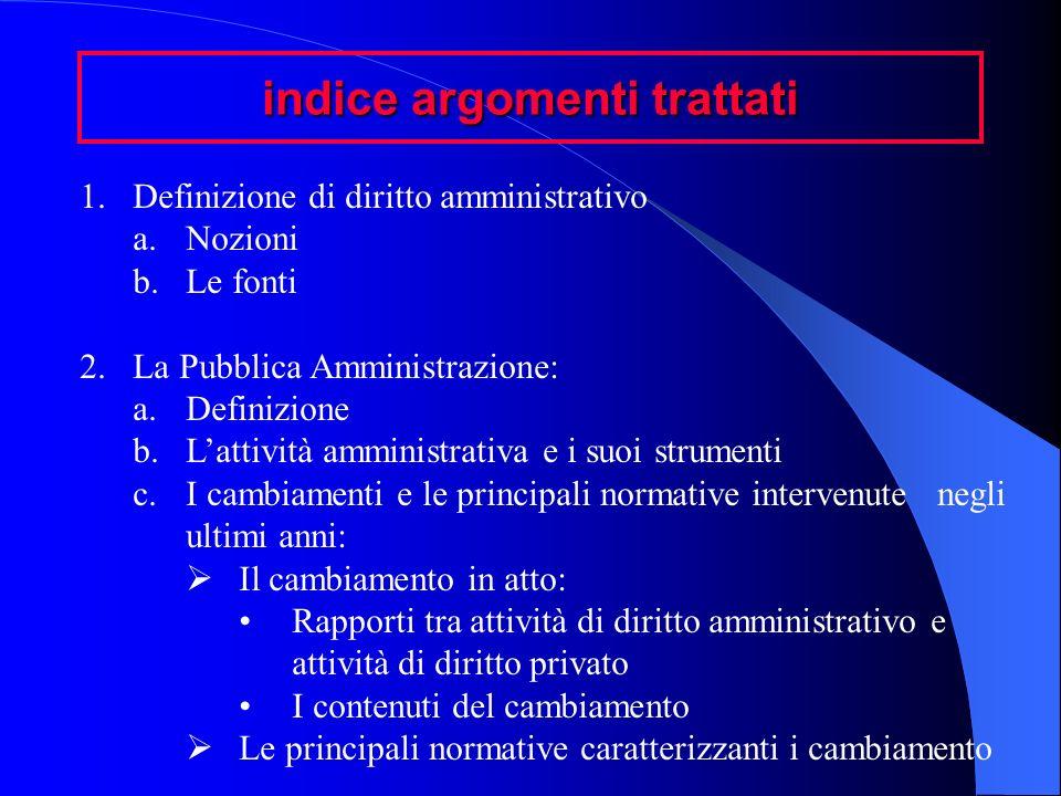 indice argomenti trattati 1.Definizione di diritto amministrativo a.Nozioni b.Le fonti 2.La Pubblica Amministrazione: a.Definizione b.Lattività ammini