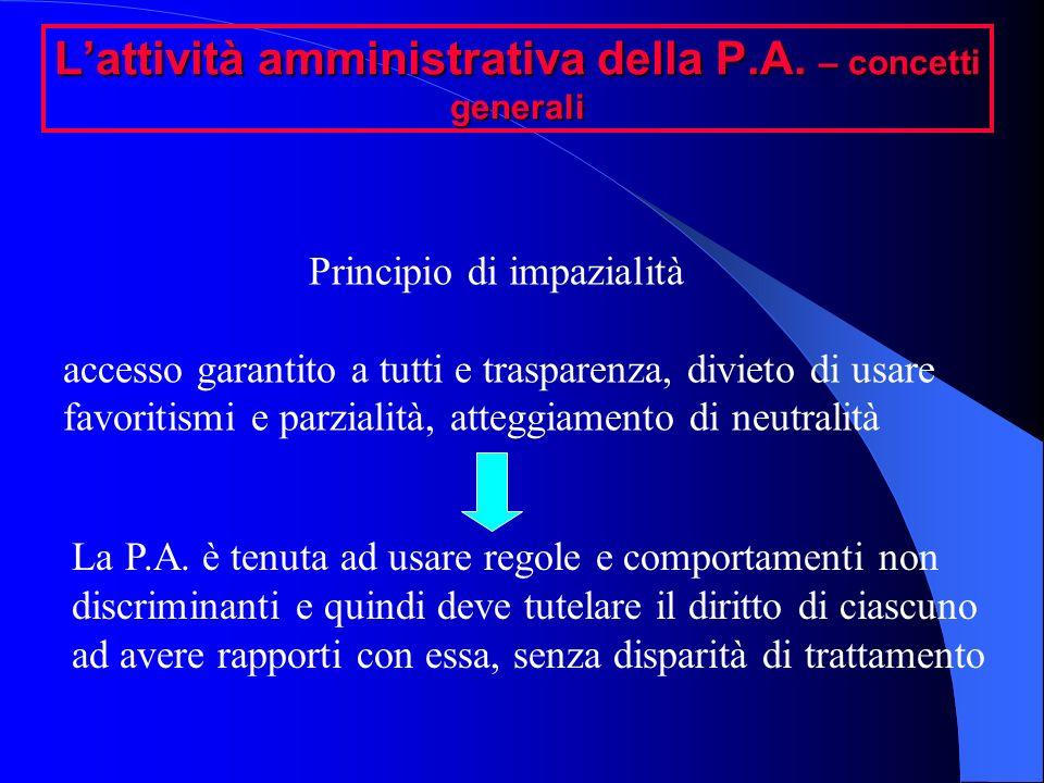 Lattività amministrativa della P.A. – concetti generali Principio di impazialità accesso garantito a tutti e trasparenza, divieto di usare favoritismi