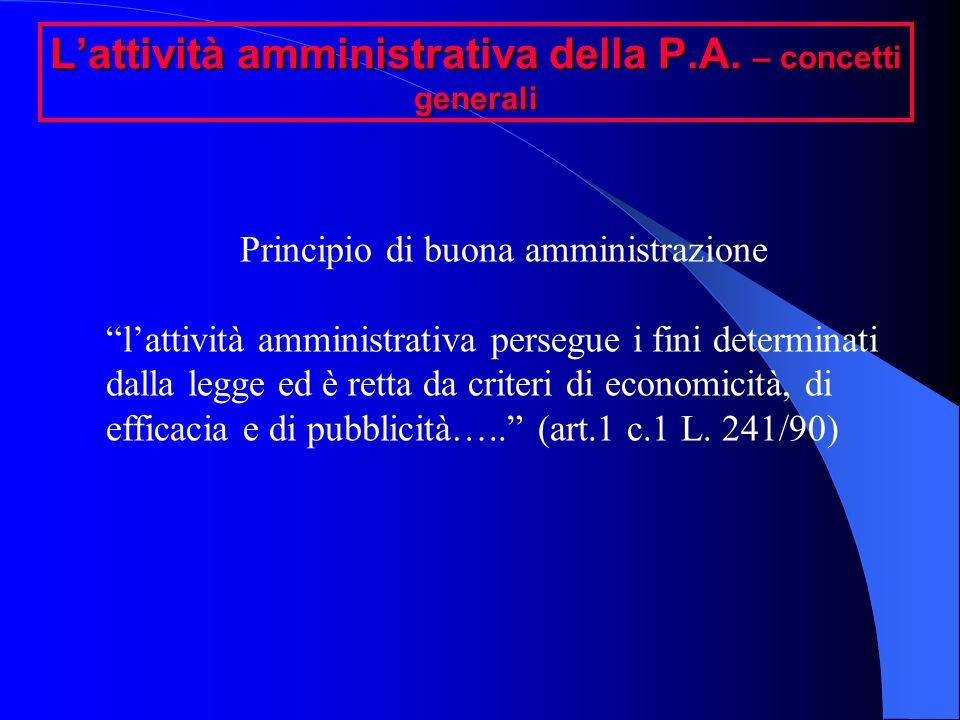Lattività amministrativa della P.A. – concetti generali Principio di buona amministrazione lattività amministrativa persegue i fini determinati dalla