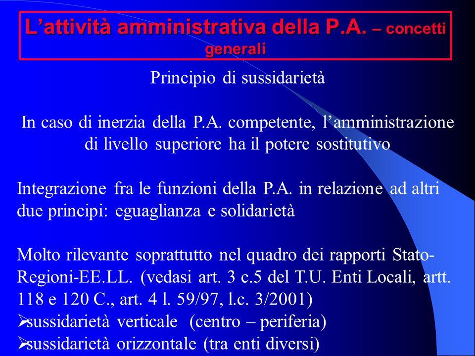 Lattività amministrativa della P.A. – concetti generali Principio di sussidarietà In caso di inerzia della P.A. competente, lamministrazione di livell