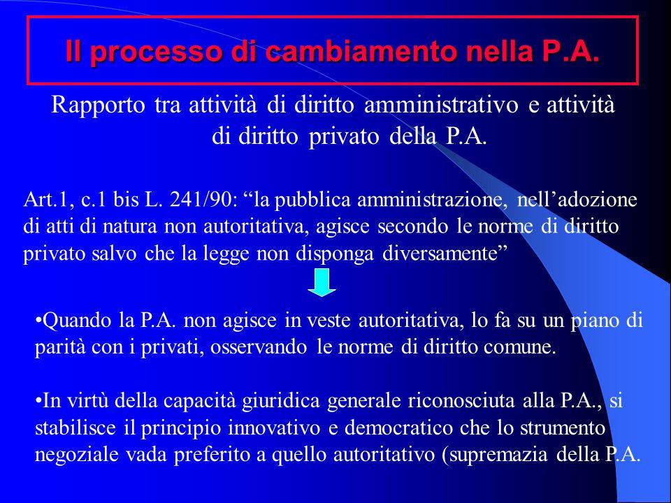 Il processo di cambiamento nella P.A. Rapporto tra attività di diritto amministrativo e attività di diritto privato della P.A. Art.1, c.1 bis L. 241/9