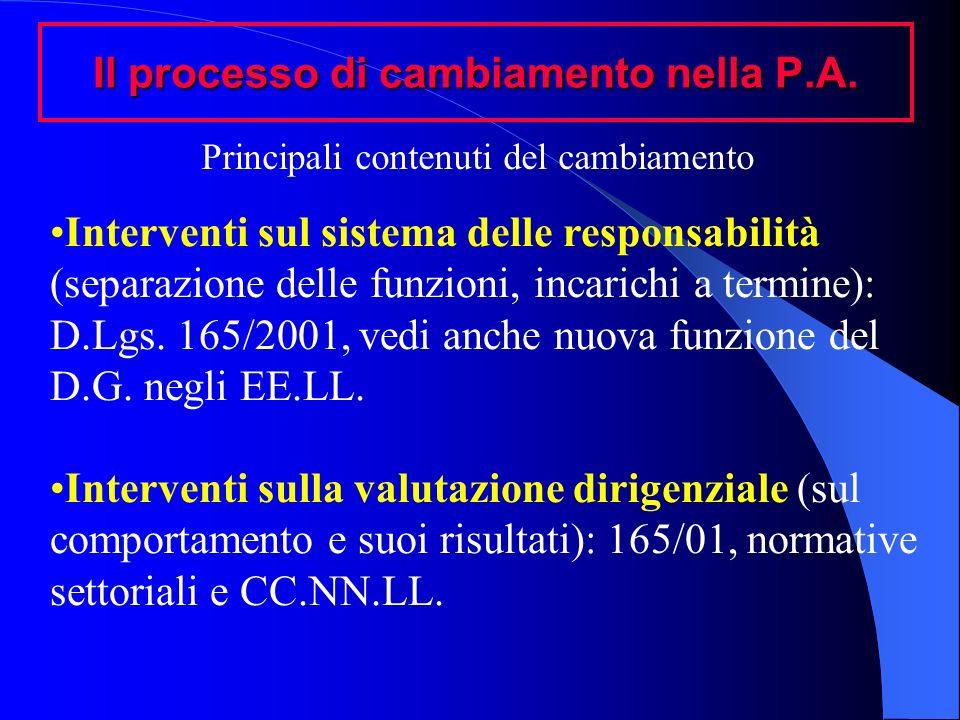 Il processo di cambiamento nella P.A. Interventi sul sistema delle responsabilità (separazione delle funzioni, incarichi a termine): D.Lgs. 165/2001,