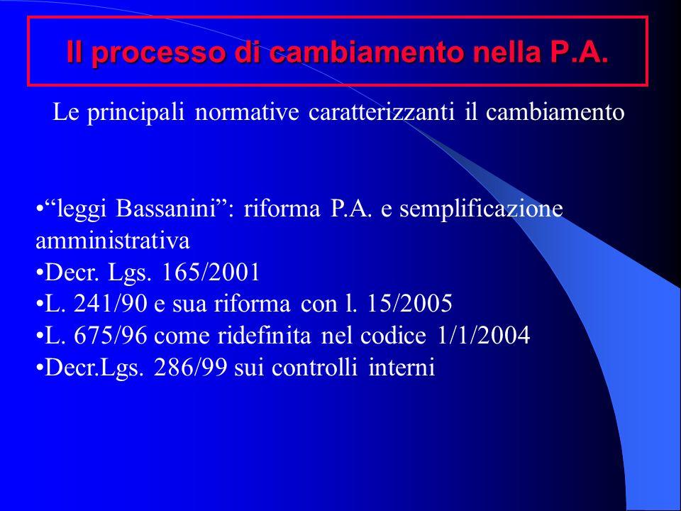 Il processo di cambiamento nella P.A. leggi Bassanini: riforma P.A. e semplificazione amministrativa Decr. Lgs. 165/2001 L. 241/90 e sua riforma con l