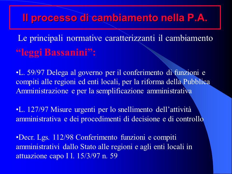Il processo di cambiamento nella P.A. leggi Bassanini: L. 59/97 Delega al governo per il conferimento di funzioni e compiti alle regioni ed enti local